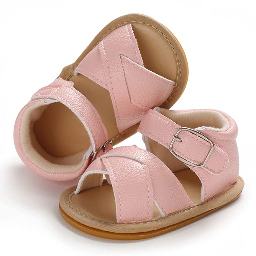 SOFMUO Baby Girls Boys Sandals Premium Soft Anti-Slip Rubber Sole Infant Summer Outdoor Shoes Toddler First Walkers
