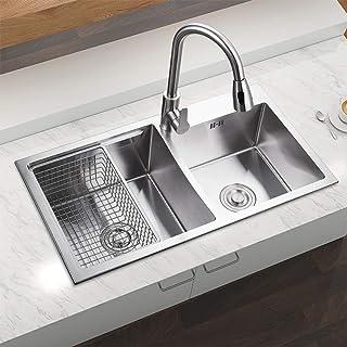 HomeLava Moderne Einbauspüle Edelstahl Spülbecken Eckig 2 Becken mit Ablaufkorb für Küche ohne Wasserhahn