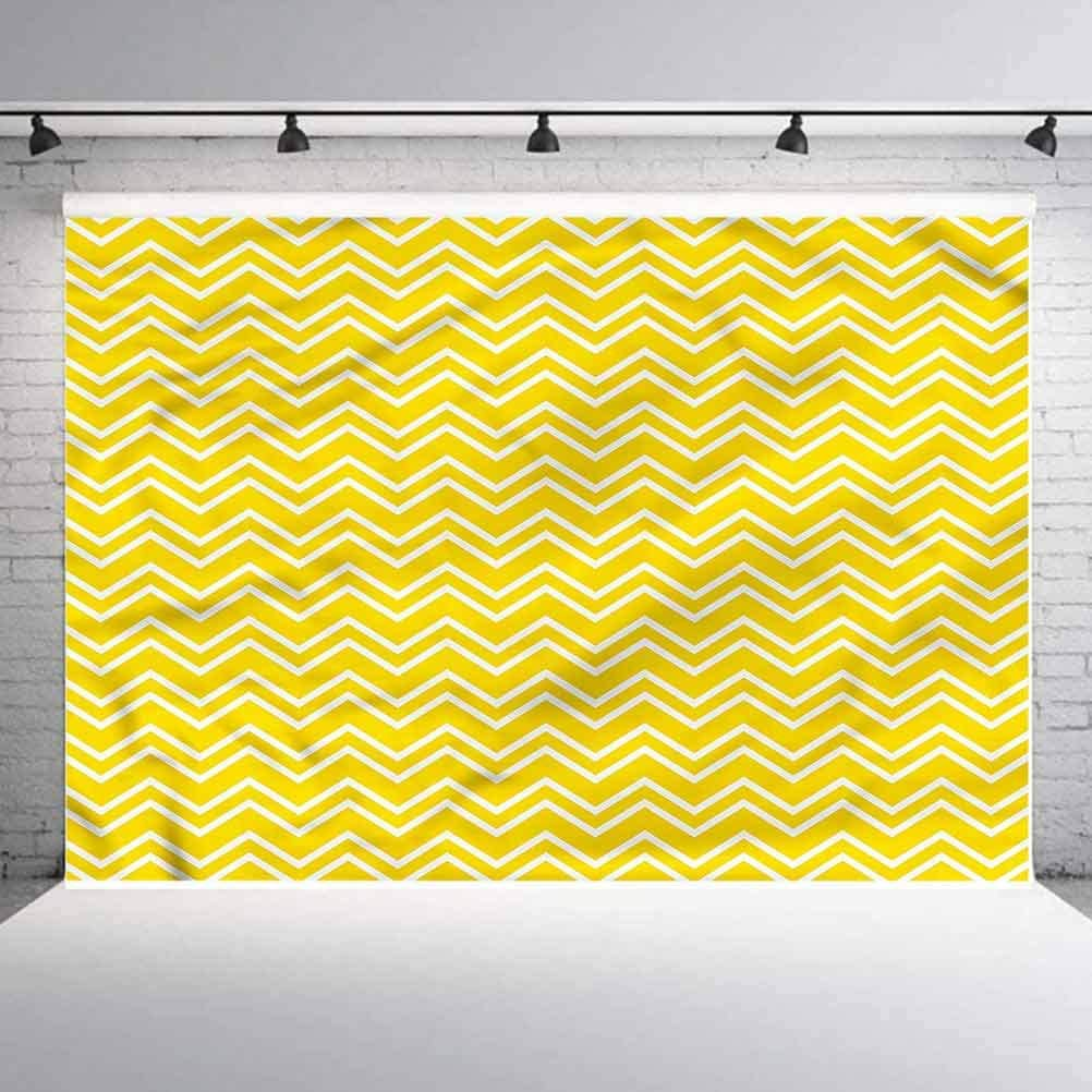 7x7FT Vinyl Photo Backdrops,Yellow,Chevron Pattern Yellow Photo Background for Photo Booth Studio Props