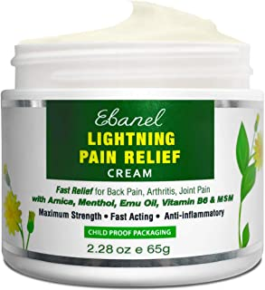 Ebanel Pain Relief Cream, 2.28 Oz Arnica Menthol Arthritis Pain Relief Muscle Rub with MSM, Emu Oil, Hemp O...