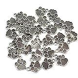 Fliyeong Lot de 30 pendentifs en métal avec empreinte de patte de chien et chiot Argent antique Élégant et populaire