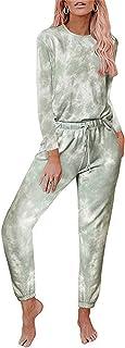 ZXJ Pijama largo con estampado de teñido anudado para mujer y niña, conjunto de pijama largo de manga larga, tops y pantalones, talla grande, verde, 3XL