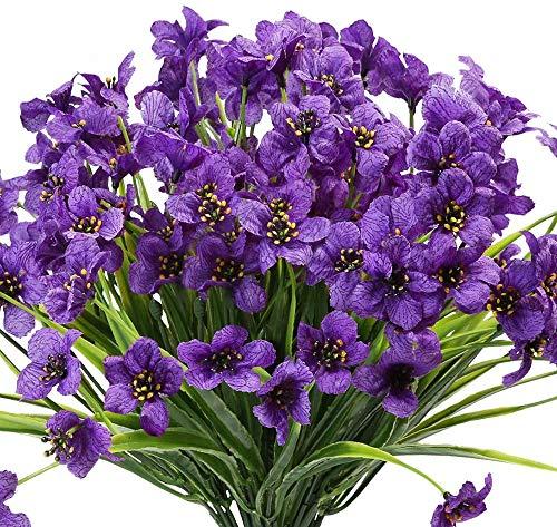 Ruiuzioong Flores artificiales de color violeta para exteriores, resistentes a los rayos UV, 6 unidades, no se decoloran, plantas de plástico sintético, decoración del hogar (morado)