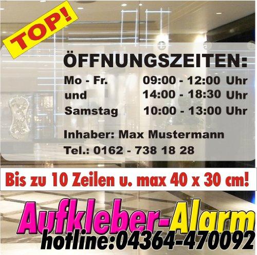 Öffnungszeiten-Aufkleber Inhaber Wunschtext Schnörkel bis zu 10 Zeilen und max.40x30cm, Geschäfstzeiten