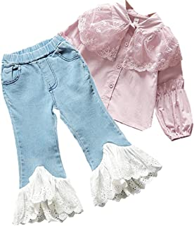 Chumhey Baby & Little Girls Ruffled Tulle Lace Collar T-Shirt Elastic Jeans 2Pcs Pants Set