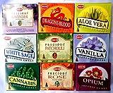 Räucherkegel Mix 9 verschiedene HEM je 10 Stück Cannabis Rose Sandelholz Aloe Vera Weihrauch Vanille Opium Patchouli je 3
