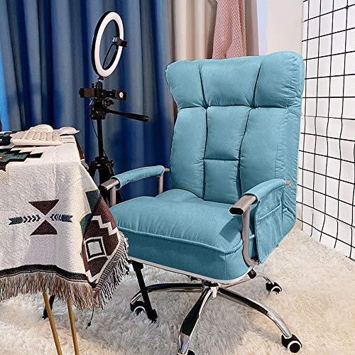 Inicio Silla para Juegos Muebles Silla de Tela para computadora, Silla de Escritorio giratoria de 360 °, Diseño ergonómico de Respaldo Alto con Envoltura de Velcro para apoyabrazos