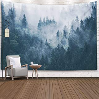 EMMTEEY Misty Forest Tapestry Nature Green Tree, Tapestries Décor Living Room Bedroom Home by Printed 80x60 Inches Foggy Mountain Landscape with fir Forest in Hipster Vintage Retro STYL,Grey Green