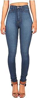 Buyaole Pantalones Vaqueros de Elasticos para Mujer │ Pantalones de Pierna Sexis de Cintura Alta para Mujer, Pantalones Aj...