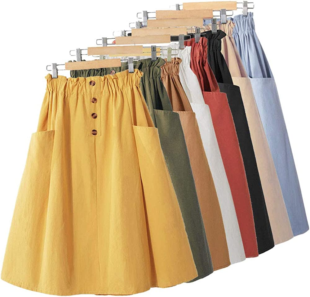 VELWINGS Woman's Summer A-line Midi Skirt Comfort Casual High Waist Pleated Skirt with Pockets