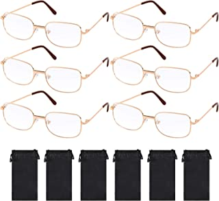 6 Pairs Old Man Costume Glasses Santa Glasses Gold Square Glasses with 6 Pieces Black Glasses Bags for Men Women Christmas Costume Accessories