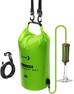 Bjone Water Purification System, 15L High-Volume Gravity-Fed Water Bag with Purifier and Handheld Shower Head with Hose fo...