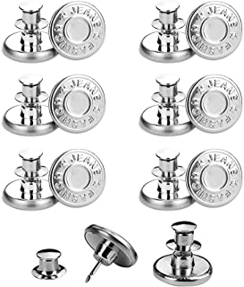 SHISHUO Jean Button Pins,12 Pcs Adjustable Silver No Sew Metal Replacement Instant Buttons to Extend or Reduce Pants Waist...
