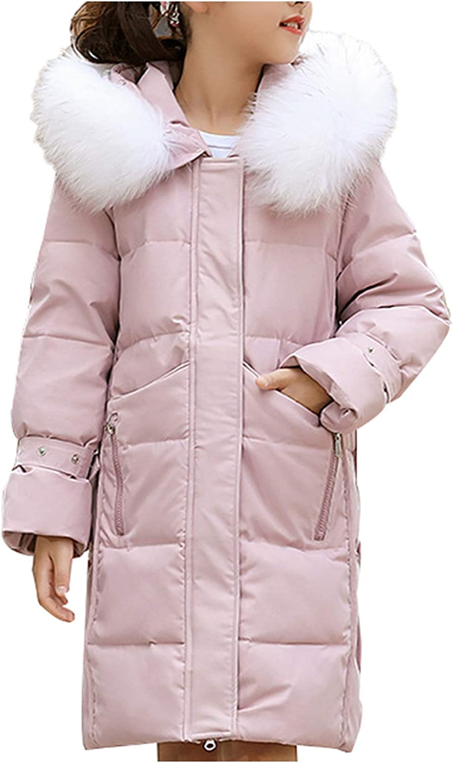 Girl Child Teens Warm Knee Length Down Hooded Fur Pa Bombing new work Duck Max 78% OFF Puffer