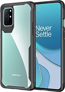 OnePlus 8T Case, Ikwcase Slim Anti-Scratch Fexible TPU Frame with Transparent PC Back Case Cover for OnePlus 8T Black