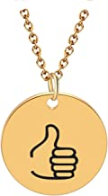 Workings American Sign Thumbs UP Circle Pendants klace for Gold Choker Chain Minimali Jewelry