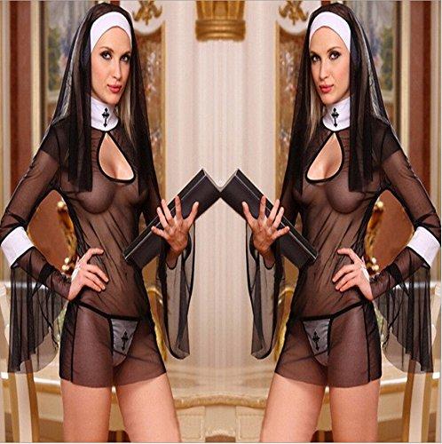 Costume sexy da suora per cosplay, uniforme trasparente e sexy, per Halloween