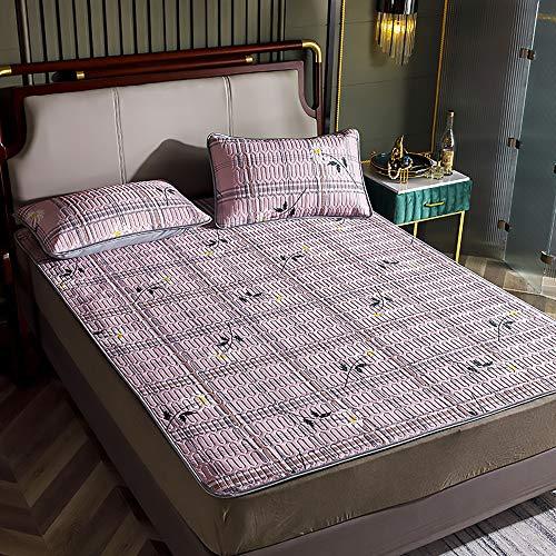 MKMKT Colchón, tapete de látex Tres Piezas, tapete de látex Plegable y Lavable, colchón Doble Individual, Ropa de Cama,Lx07,180x200cm
