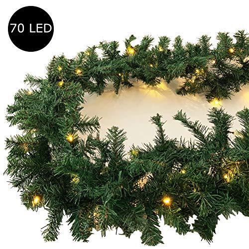 XL Weihnachtsbeleuchtung Girlande beleuchtet Tannengirlande 70 LED Lichterkette 540 cm Weihnachten innen und außen