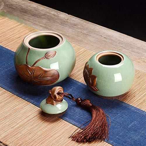Réservoir de stockage de thé Boîtes de thé en céramique Grandes boîtes de thé en céramique Gourde Double boîtes de thé Boîtes scellées Cadeaux en céramique Art Accessoires de thé Bijoux Accessoires dé