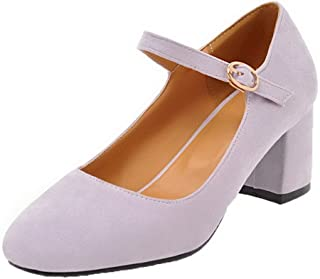 VogueZone009 Women's Buckle Closed-Toe Kitten-Heels Frosted Solid Pumps-Shoes