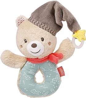Fehn 060164 Ring-Greifling Bär – Greifling mit Rassel und Schnullerbefestigung für Babys und Kleinkinder ab 0 Monaten – Maße: 13 cm