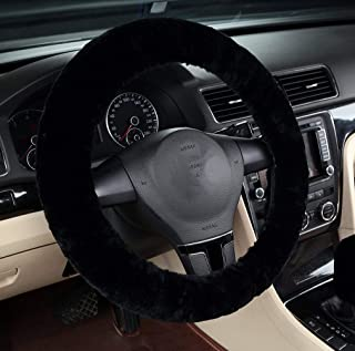 MLOVESIE Universal Genuine Wool Sheepskin Univeral Car Vehicle Steering Wheel Cover Car Wheel Cushion Protector Available for 35cm-44cm Steering Wheel in Diameter