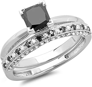 Dazzlingrock Collection 1.50 Carat (ctw) 10K Gold Princess Cut Black & Round White Diamond Bridal Engagement Ring Set 1 1/2 CT