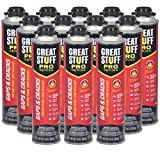 Great Stuff Pro Gaps and Cracks - 24 oz Fireblock Foam Insulation Sealant, Case of 12 - Closed Cell, Polyurethane Expanding Spray Foam - Fills, Seals and insulates Gaps up to 3'