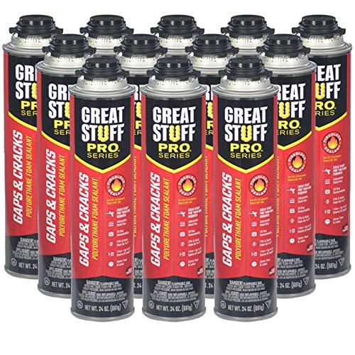 """Great Stuff Pro Gaps and Cracks - 24 oz Fireblock Foam Insulation Sealant, Case of 12 - Closed Cell, Polyurethane Expanding Spray Foam - Fills, Seals and insulates Gaps up to 3"""""""