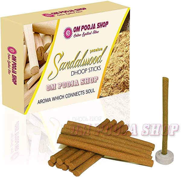 Om Pooja Shop Premium Sandalwood Dhoop Sticks 100 Pcs Puja