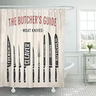 Semtomn Shower Curtain Meat Cutting Knives Butcher Diagram and Scheme Knife Shower Curtains Sets with 12 Hooks 60 x 72 Inches Waterproof Polyester Fabric