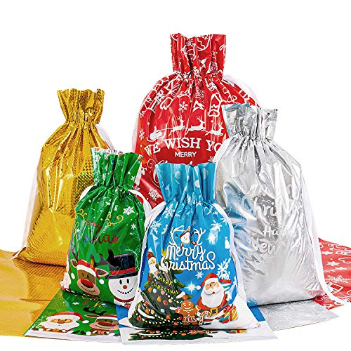 Drawstring Bags Set 30 Pieces Large Wrapping Bags 3 Sizes Goody Bags with Hanging Tags Cards and String Tie