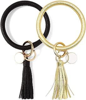 2PCS Wristlet Keychain Bracelet Leather Keyring Bangle Tassel Big Round Key Chain for Women Girls