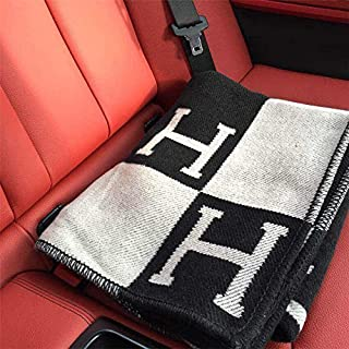 KoaWin Initial Letter H Cashmere Knitted Throw Blanket for Couch/Chair/Love Seat/Car Camping Blanket Shawl