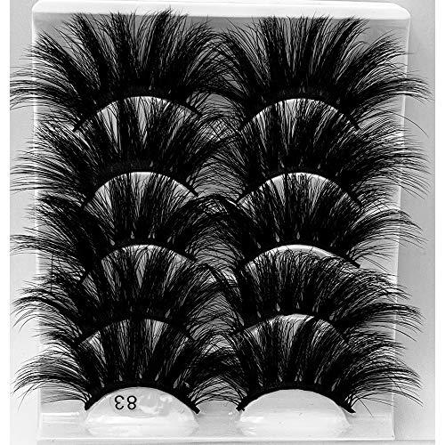HBZGTLAD NEW 5Pair Fluffy Lashes 25mm 3d Mink Lashes Long Thick Natural False Eyelashes Lashes Vendors Makeup Mink Eyelashes (5D83)