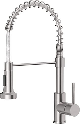 OWOFAN Kitchen Faucets Low Lead Commercial Solid Brass Single Handle Single Lever Pull Down Sprayer Spring Kitchen Si...