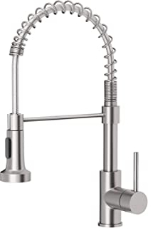 OWOFAN Kitchen Faucets Low Lead Commercial Solid Brass Single Handle Single Lever Pull Down Sprayer Spring Kitchen Sink Fa...