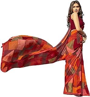 بلوزة صيفية ناعمة بنمط ساري من قماش جورجيت ساري مصمم بطباعة فاخرة للنساء الهندية من ABSTRACT 6221