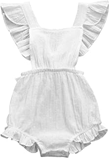 CM C&M WODRO Infant Baby Girl Bodysuit Sleeveless Ruffles Romper Sunsuit Outfit Princess Clothes