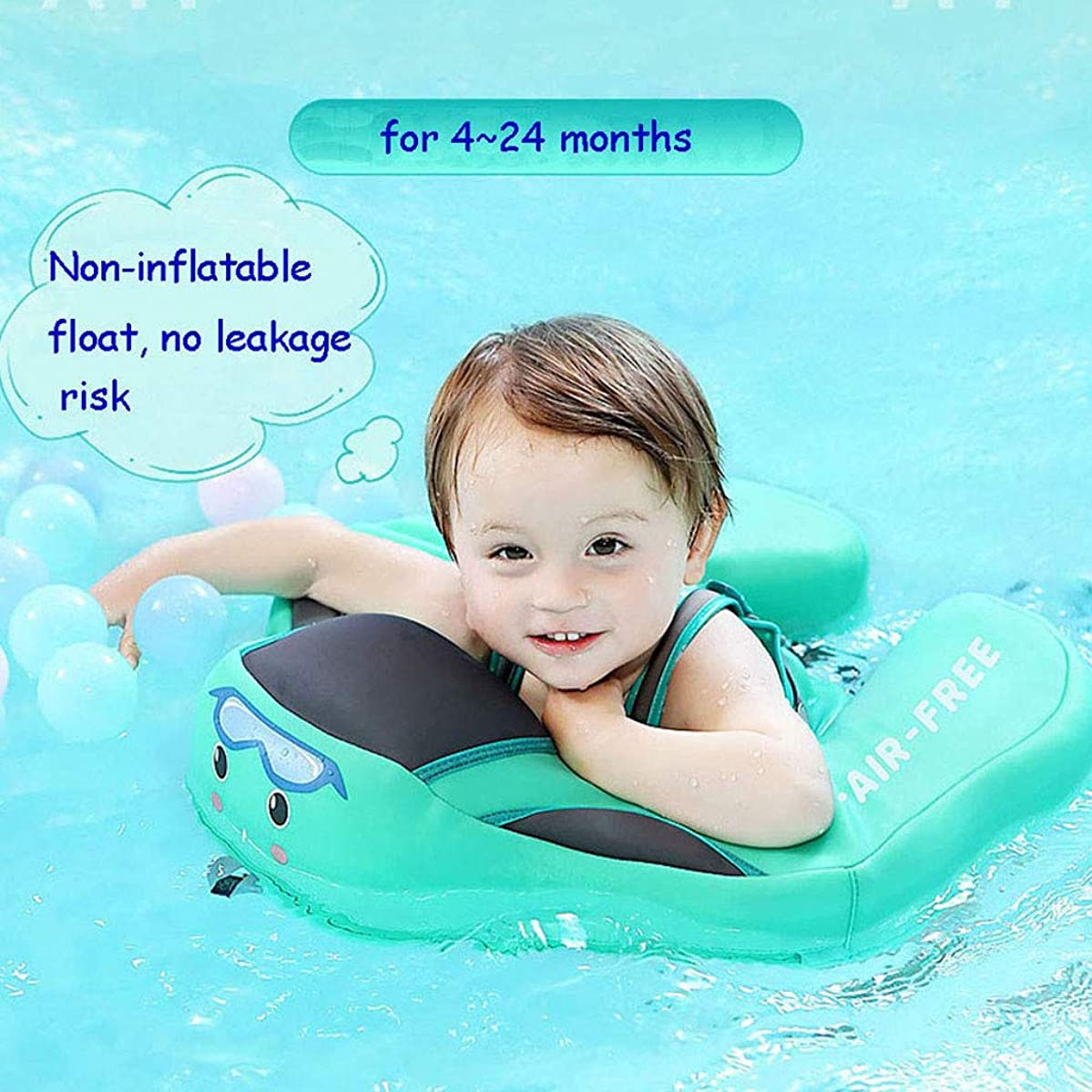 Inflatable Baby Swimming Float Ring - Baby Children Infant Toddler Free Lying Swimming Waist Float Ring Pool Toys Swim Trainer Flotation Device for 4-24 Months (46.5x48.5cm, Green)