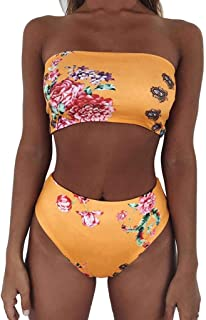 81ca47301d3ba OcEaN Swim Women Bikini Set Swimwear Push-Up Padded Sexy Print Tube Top  Swimsuit