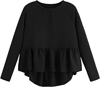 Women's Loose Round Neck Raglan Long Sleeve Ruffle High Low Hem Smock Top