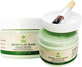Natural Hemp Seed Oil Clay Mask -Natural Skin Care treatment, 100% Organic Oils - Facial Cleansing, Moisturise, Reduce Acne.