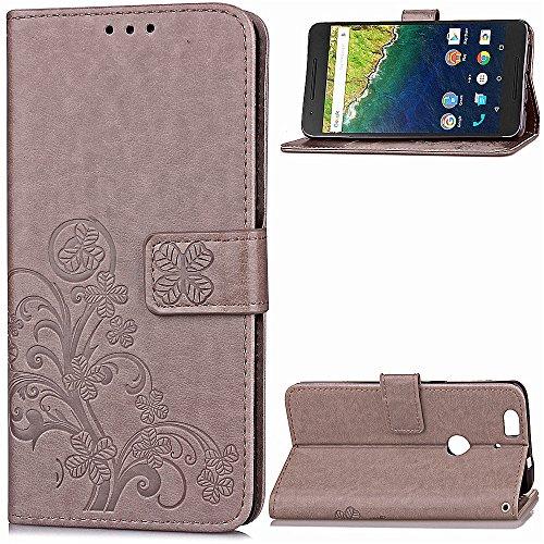 Tosim Huawei/Google Nexus 6P Hülle Klappbar Leder, Brieftasche Handyhülle Klapphülle mit Kartenhalter Stossfest Lederhülle für Huawei Nexus 6P - TOSDA040911 Grau
