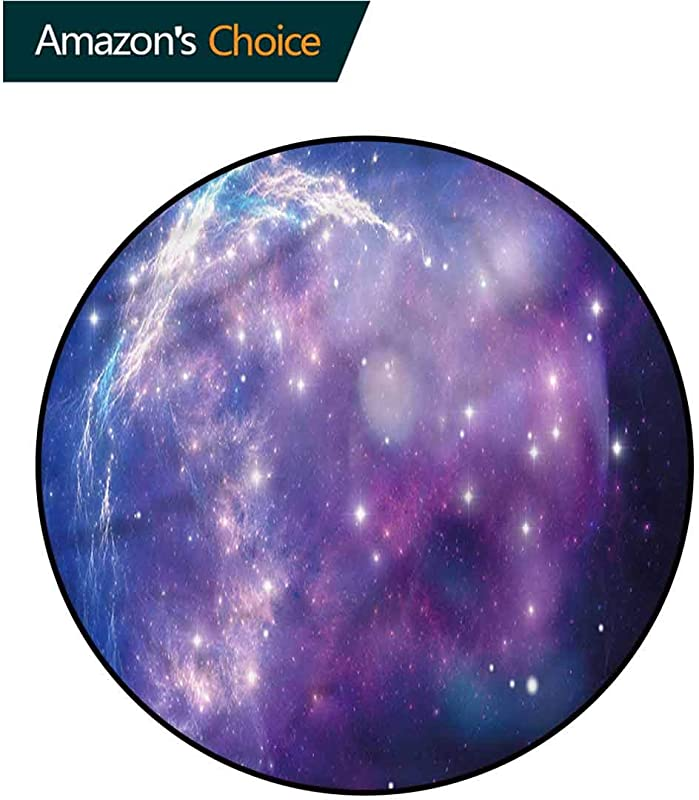 RUGSMAT Constellation Round Area Rug Purple Nebula Non Slip No Shedding Kitchen Soft Floor Mat Diameter 35