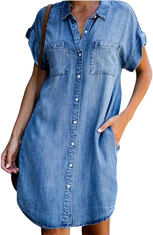 CHARTOU Women's Loose Distressed Button Down Roll Up Short Sleeve Denim Blouse Shirt Dress