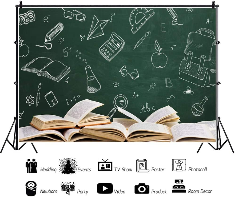 Leowefowa Back to School Backdrop 12x8ft Blackboard Chalk Drawings Opened Books Vinyl Photography Background New Semester Students Teacher Photo Shoot Props Wallpaper