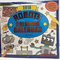"""ロボットカラーリング16ヶ月製品名2018カレンダー11"""" x 12"""""""