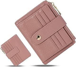 HUANLANG Small Leather Wallet for Women Men RFID Blocking Credit Card Holder Slim Bifold Front Pocket Wallet Coin Zipper